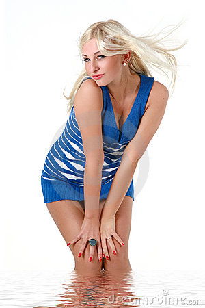 Beautiful blonde in blue stocking dress