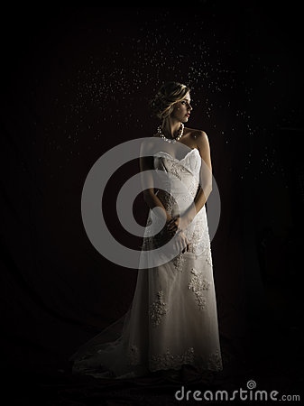 Free Beautiful Blonde Bride Wearing Vintage Strapless Wedding Gown Standing In The Rain Stock Photos - 34606773