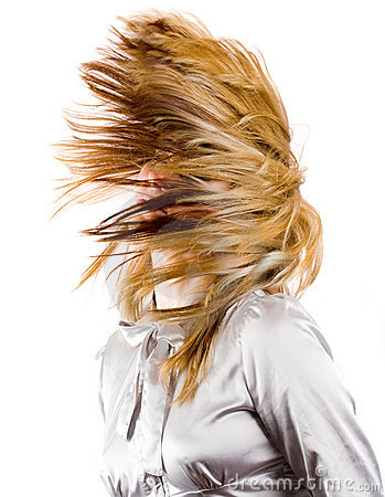 Beautiful blonde flipping hair