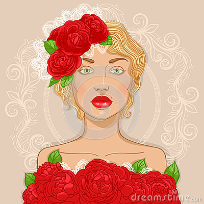 Retro blonde with roses