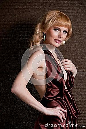 Beautiful blonde girl in evening dress.