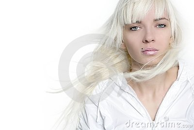 Beautiful blonde girl fashion wind long hair