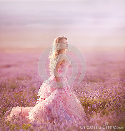 Free Beautiful Blonde Girl In A Field Of Lavender Stock Photos - 68168223
