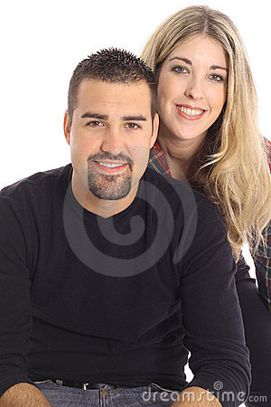 Beautiful blonde girl & latino man