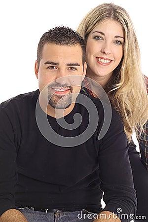 Beautiful blonde girl & latino man