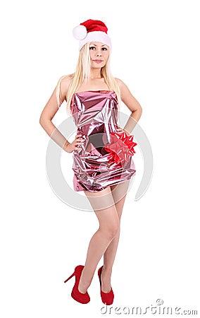 Beautiful blonde girl in Santa hat and shiny dress