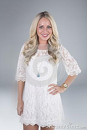 Beautiful blonde girl smiling