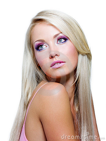 Beautiful Blonde Girl With Straight Long Hair Stock Images