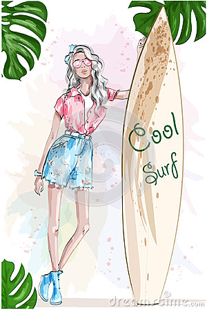 Free Beautiful Blonde Girl With Surfboard. Pretty Sport Girl. Summer Look. Summer Rest.  Stock Image - 96896601