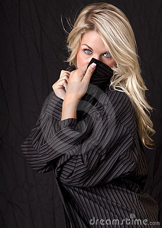 Free Beautiful Blonde In Mens S Shirt Stock Images - 15493374