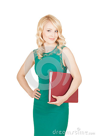 Free Beautiful Blonde Keeps The Red Folder In A Green Dress Royalty Free Stock Photos - 33939538