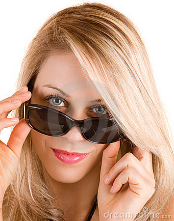 Beautiful Blonde Lady Looking Over Sunglasses