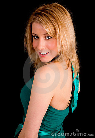 Beautiful Blonde Lady in a Turquoise Colored Dress