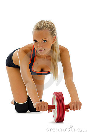 Beautiful blonde is making gym exercises