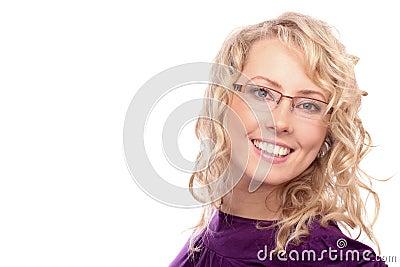 The beautiful blonde in the optical salon