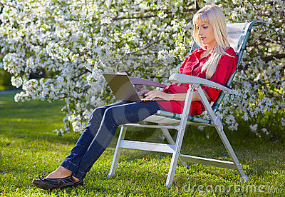 Beautiful blonde outdoors