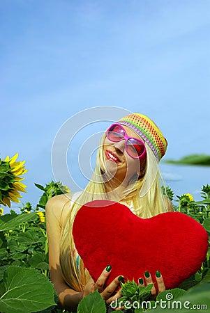Beautiful blonde in pink glasses