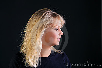 Beautiful blonde side view portrait