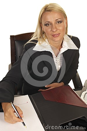 Beautiful Blonde Signing Contract