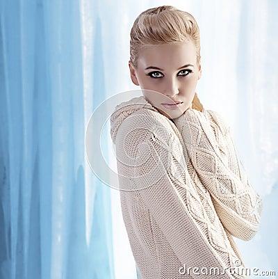 Beautiful blonde wearing a warm wool sweater