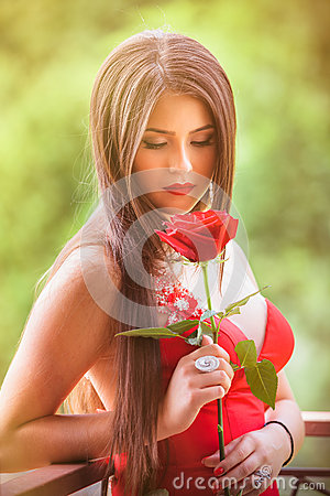 Free Beautiful Blonde With Red Rose Stock Images - 72054024