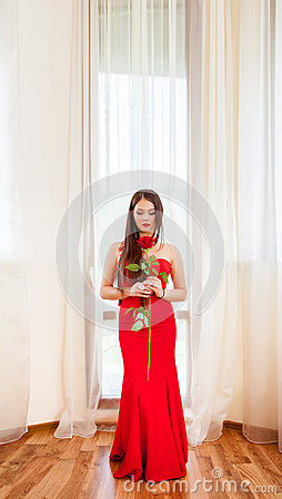 Free Beautiful Blonde With Red Rose Royalty Free Stock Images - 72054139