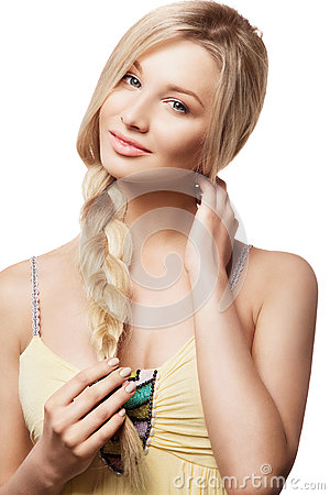 Beautiful blonde woman with braid hairdo