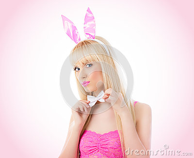 Beautiful blonde woman in bunny ears