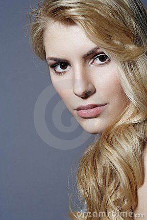 Beautiful blonde woman close-up portrait