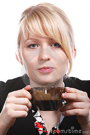 Free Beautiful Blonde Woman Drinks Hot Coffee Stock Images - 12963904