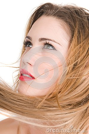 Beautiful blonde woman expresion with green eyes