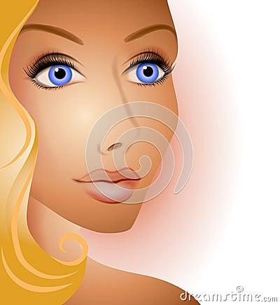 Beautiful Blonde Woman Face