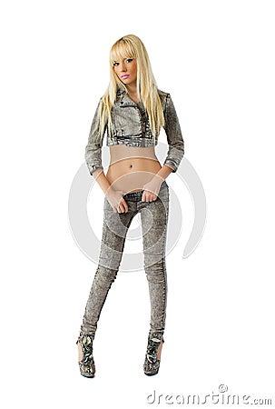 Beautiful blonde woman in jeans