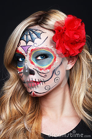 Beautiful Blonde Woman With Painted Sugar Skull Art