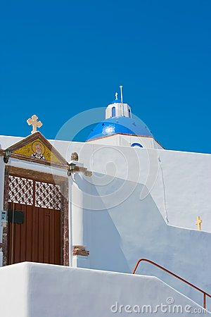 Beautiful blue church in Santorini