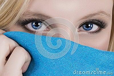 Beautiful blue eyes blue scarf