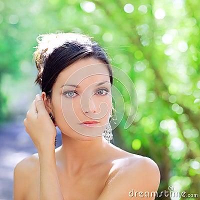 Beautiful blue eyes woman outdoor park