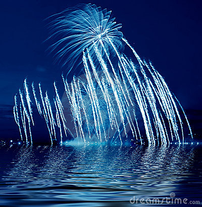 Beautiful blue firework