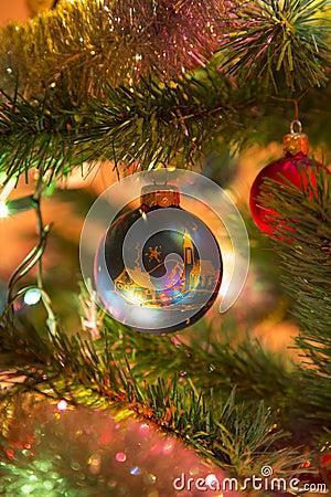 Free Beautiful Blue Glass Balls On Christmas Tree Stock Photos - 46270203