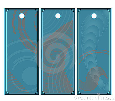 Beautiful blue and orange tags or labels