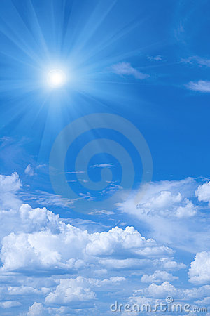 Beautiful blue sky and sun.