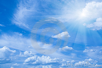 Beautiful blue sky and sun rays. Horizontal view.