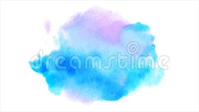 Beautiful blue spot appears on a white background. Cyan and pink paints spreads on paper forming a blot. Beautiful blue spot appears on a white background stock video footage
