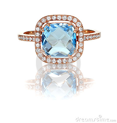 Free Beautiful Blue Topaz And Diamond Rose Gold Halo Ring Stock Photo - 40175460
