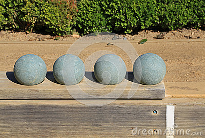Beautiful bocce balls at the ready
