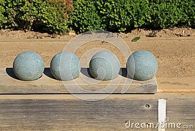 Beautiful bocce balls at the ready