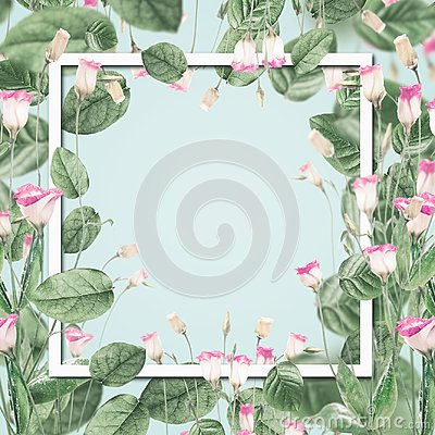 Free Beautiful Botanical Frame With Pink Flowers And Leaves At Pastel Blue Background. Stock Photography - 112326612