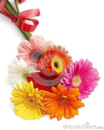 Beautiful bouquet of colorful gerbera flowers