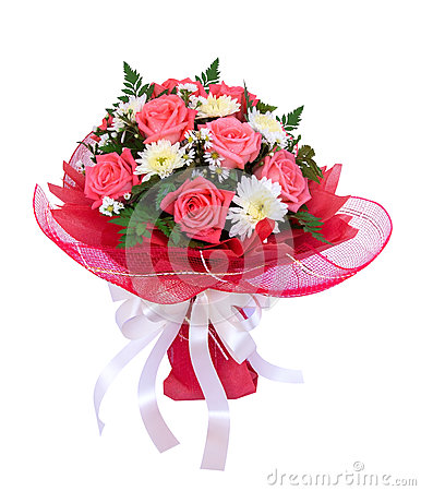 Free Beautiful Bouquet Of Roses And Daisies Flowers With Red Mesh Wra Royalty Free Stock Images - 91892859
