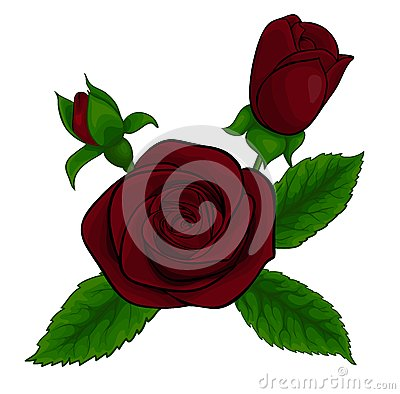 Beautiful bouquet of red roses, decorative floral design element